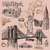 New York doodle freehand