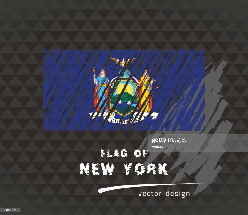 New York flag, vector sketch hand drawn illustration on dark grunge background