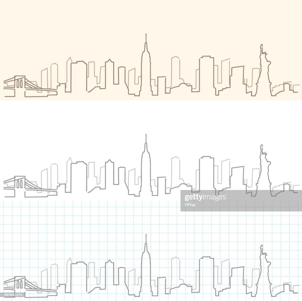 New York Hand Drawn Skyline