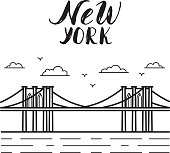 New York illustration with Brooklyn bridge modern calligraphy.