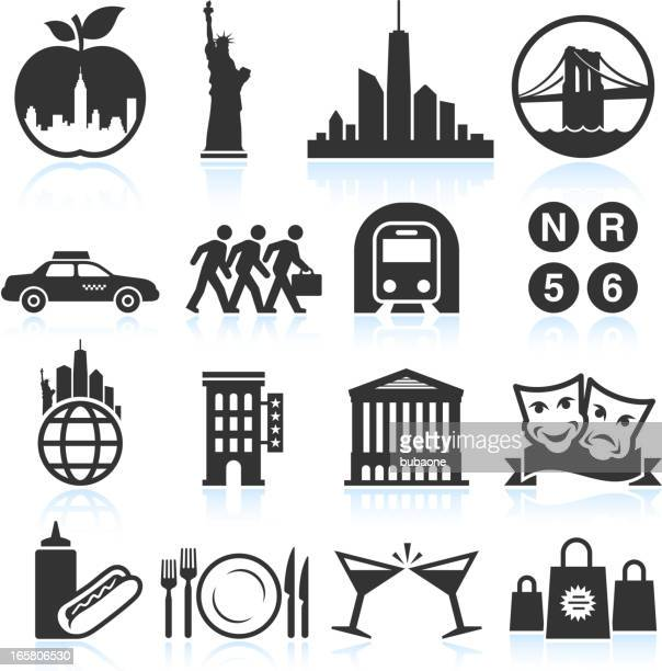 new york life black & white vector icon set - brooklyn bridge stock illustrations, clip art, cartoons, & icons