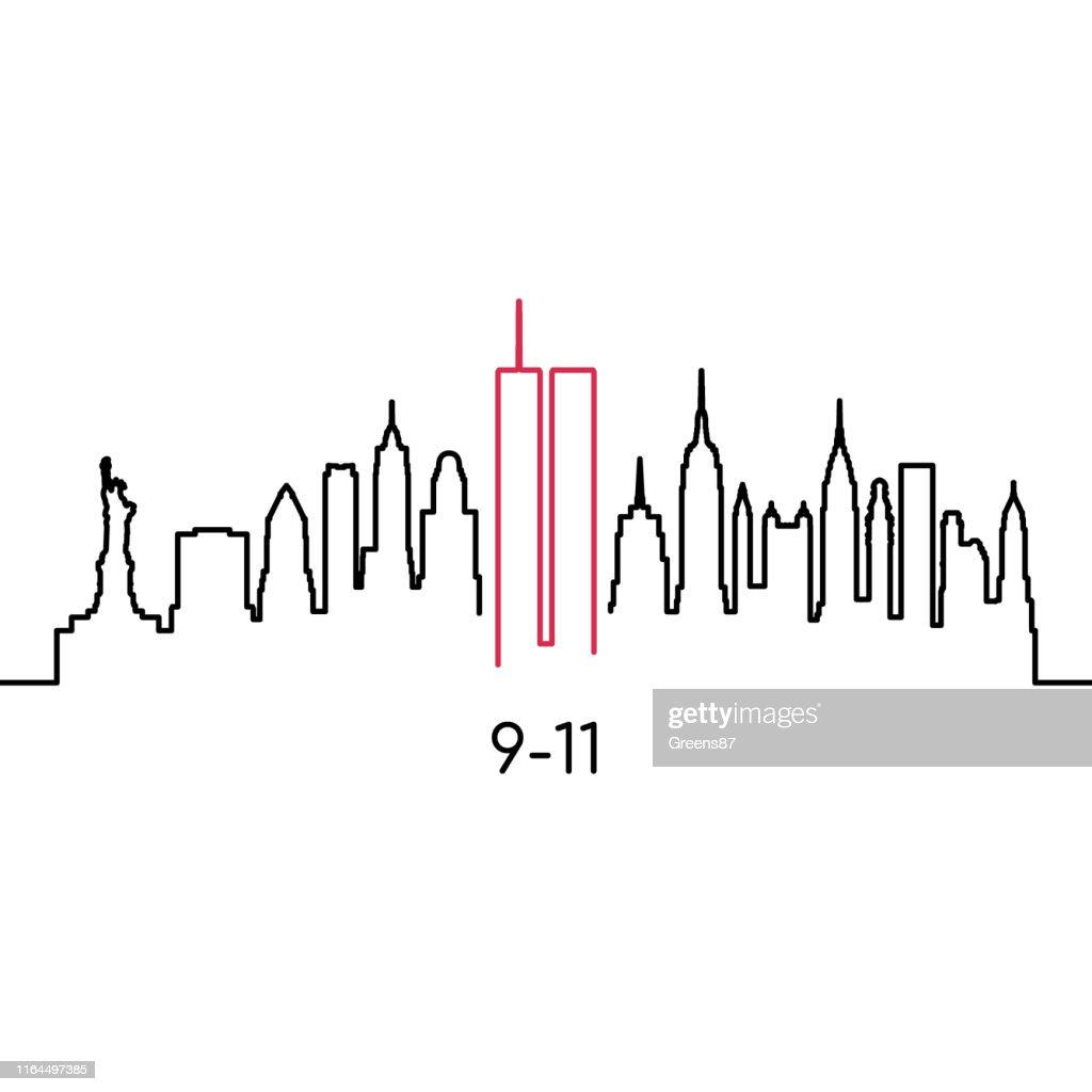 New York lineair silhouet. Vector ontwerpsjabloon voor USA Patriot dag 9/11. : Stockillustraties