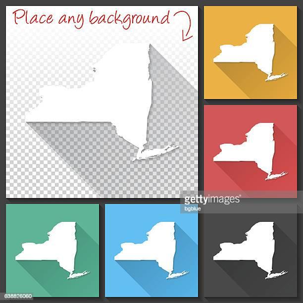New York Map for design, Long Shadow, Flat Design