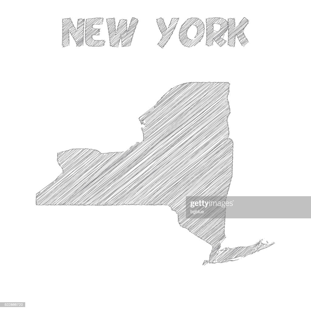 New York map hand drawn on white background