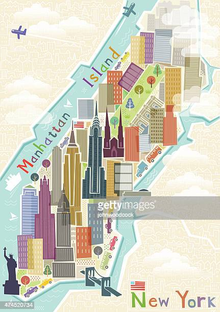 new york map illustration - empire state building stock illustrations, clip art, cartoons, & icons