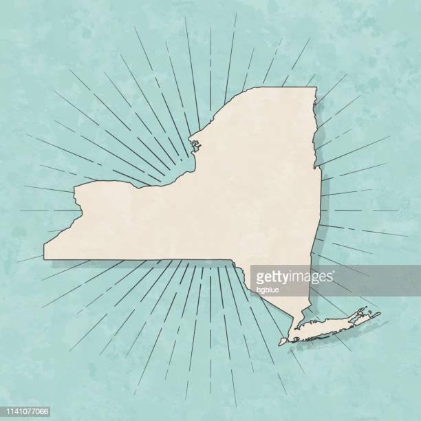 illustrazioni stock, clip art, cartoni animati e icone di tendenza di mappa di new york in stile vintage retrò - vecchia carta strutturata - new york stato