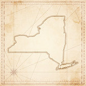 New York map in retro vintage style - old textured paper