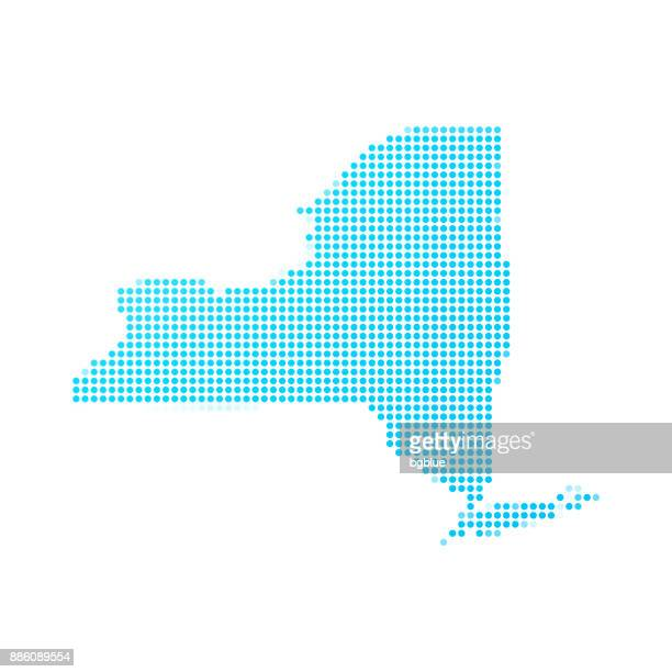 New York map of blue dots on white background