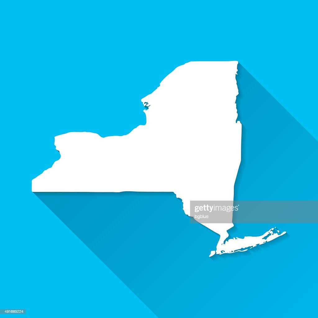 New York Map on Blue Background, Long Shadow, Flat Design : stock illustration