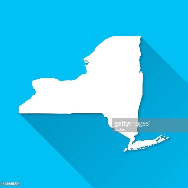 New York-Karte auf blauem Hintergrund, lange Schatten, Flat-Design
