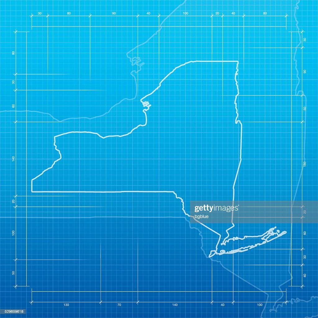 New york map on blueprint background vector art getty images new york map on blueprint background vector art malvernweather Gallery