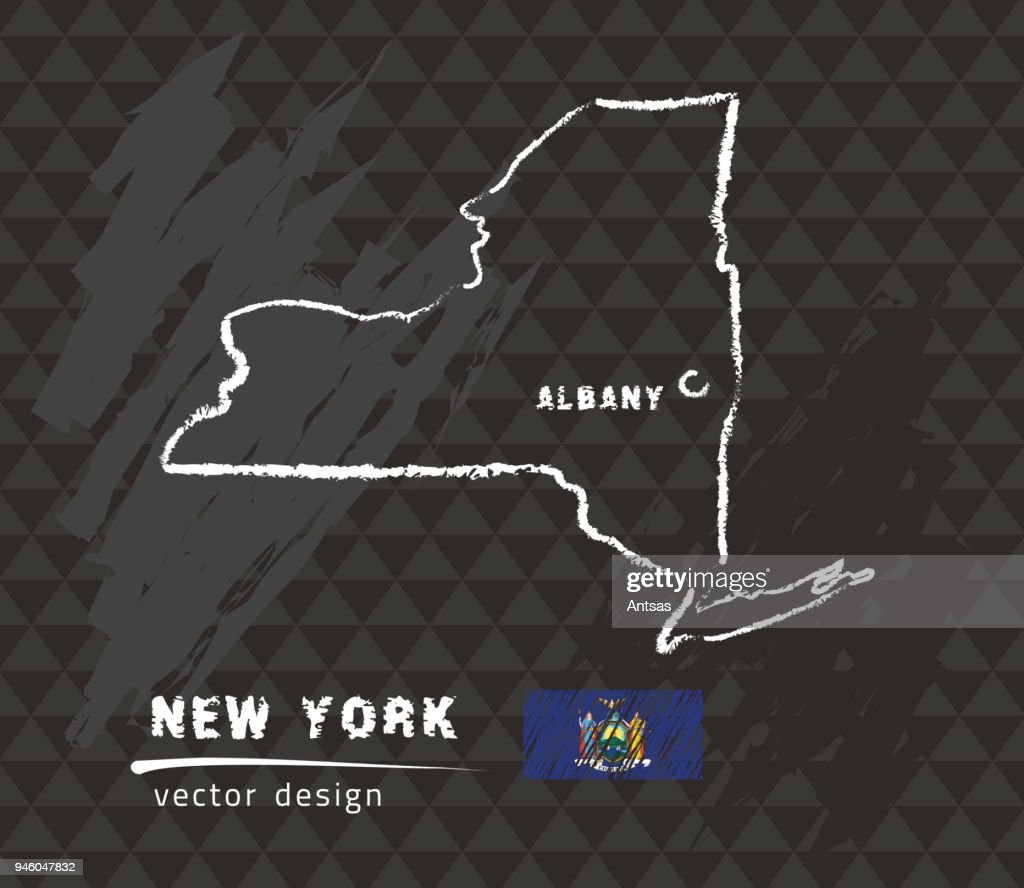 New York map, vector pen drawing on black background