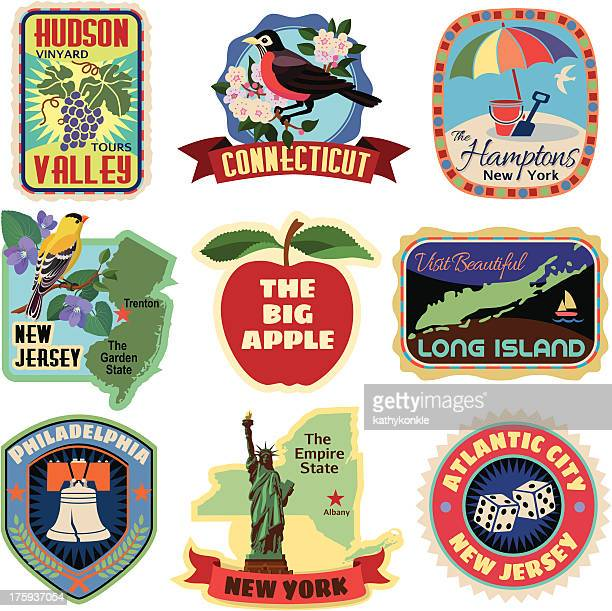 new york metropolitan area travel stickers - travel tag stock illustrations, clip art, cartoons, & icons