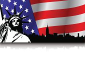 New York on USA Flag and Statue