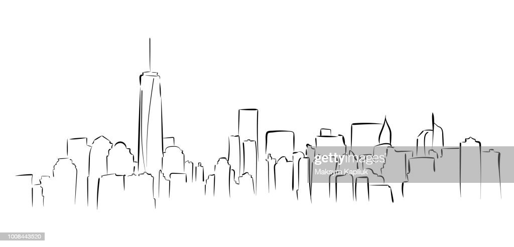 New York panorama. Hand drawned vector illustration