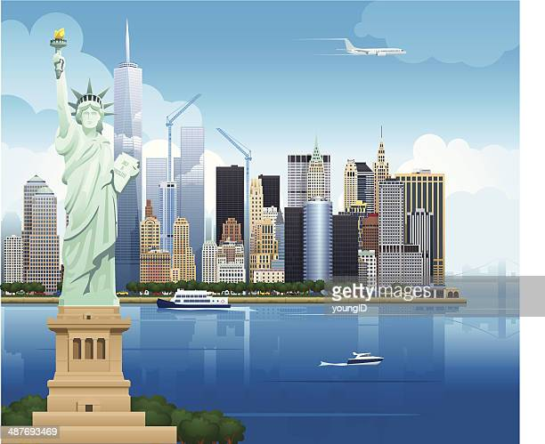 illustrations, cliparts, dessins animés et icônes de new york skyline-illustration - new york city