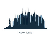 New York skyline, monochrome silhouette. Vector illustration.