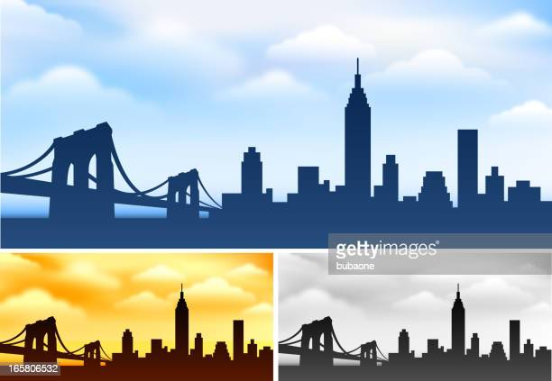 new york skyline panoramic collection - brooklyn bridge stock illustrations, clip art, cartoons, & icons