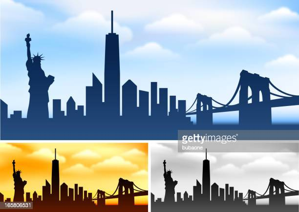 new york skyline panoramic collection with statue of liberty - brooklyn bridge stock illustrations, clip art, cartoons, & icons