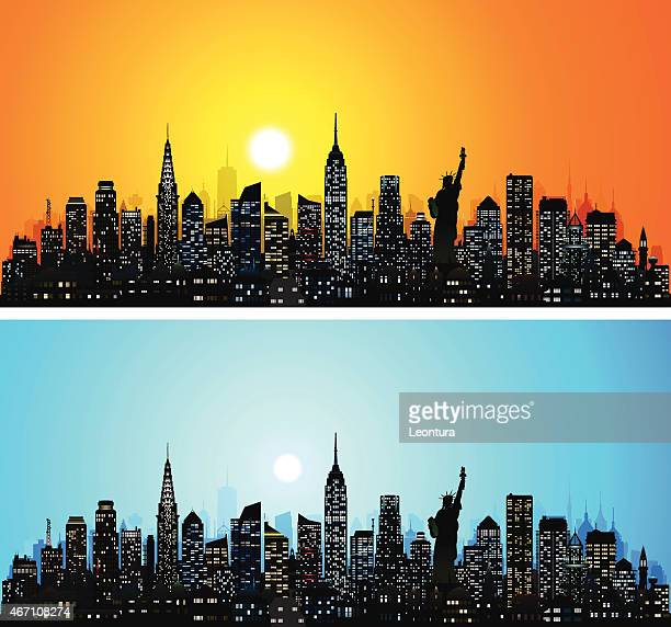 new york skyline (complete, detailed, moveable buildings) - empire state building stock illustrations, clip art, cartoons, & icons