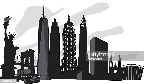 new york skyline - st. patrick's cathedral manhattan stock illustrations, clip art, cartoons, & icons