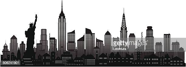 new york skyline (complete, moveable buildings) - empire state building stock illustrations, clip art, cartoons, & icons