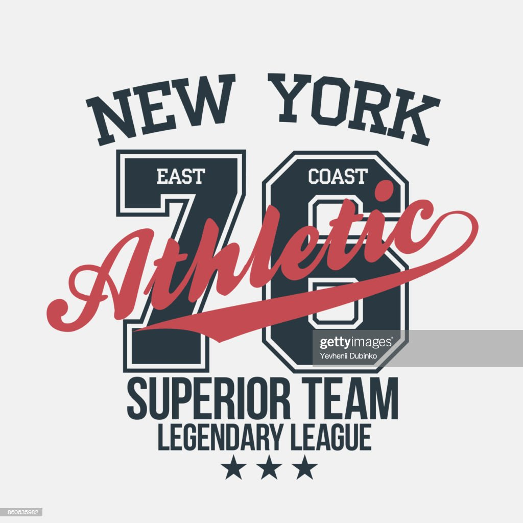 New York sportswear emblem. Athletic university apparel design with lettering. T-shirt graphics