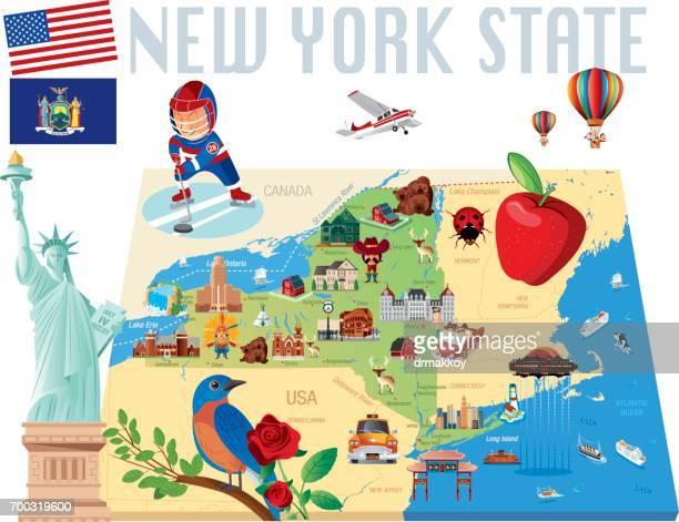new york state cartoon map - lake ontario stock illustrations, clip art, cartoons, & icons