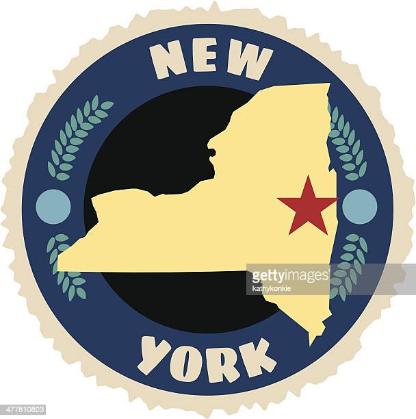 new york state emblem - luggage tag stock illustrations, clip art, cartoons, & icons