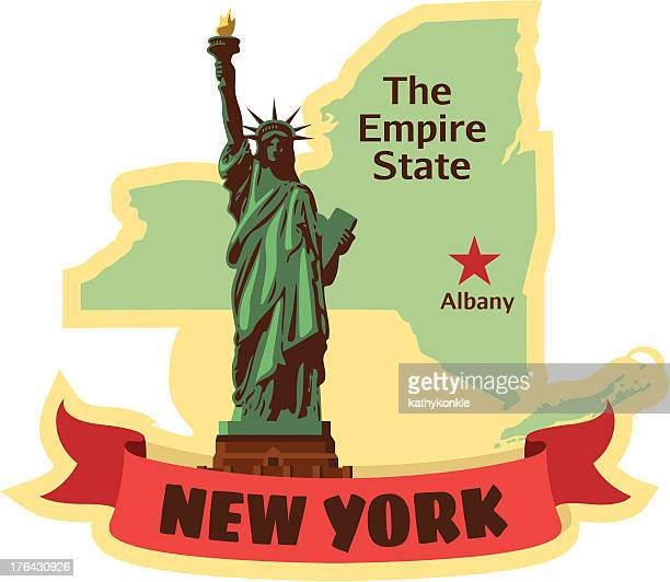 new york state luggage label or travel sticker - luggage tag stock illustrations, clip art, cartoons, & icons