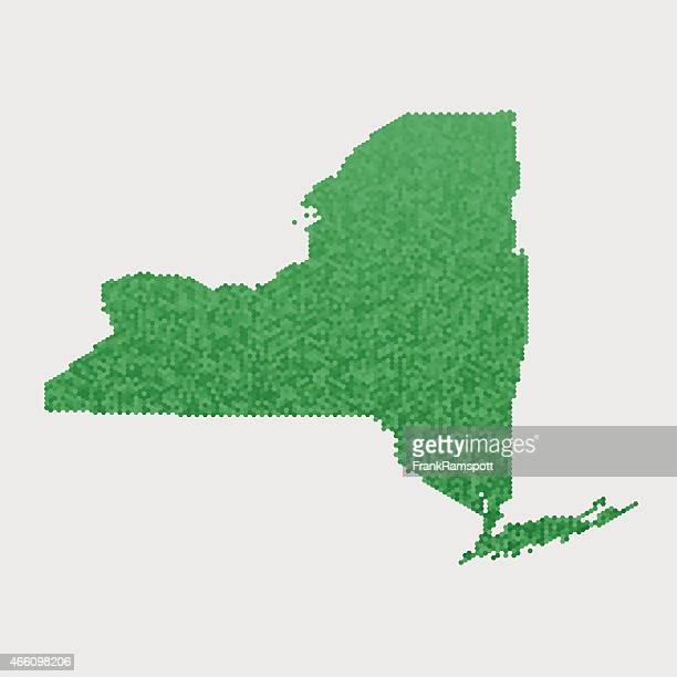 New York State Map Green Hexagon Pattern