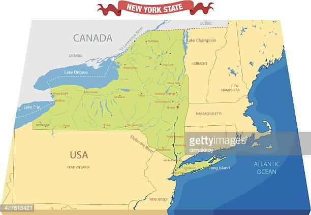 new york state map - ellis island stock illustrations, clip art, cartoons, & icons