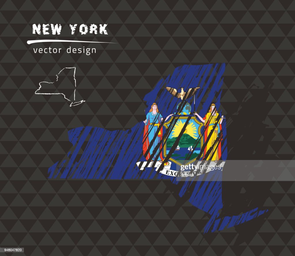 New York state national vector map with sketch chalk flag. Sketch chalk hand drawn illustration