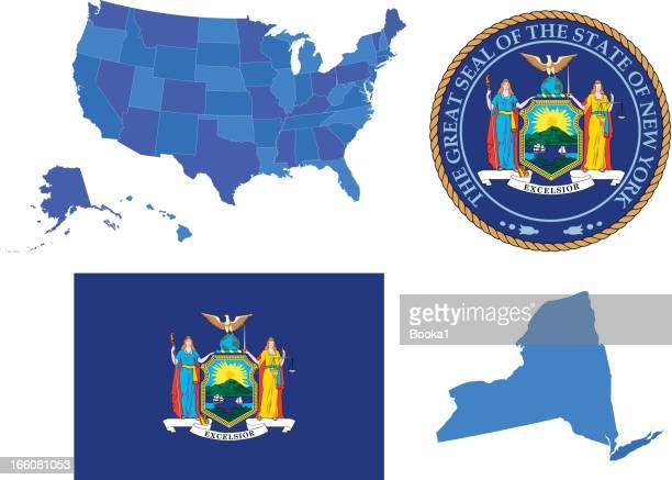 new york state set - new york state stock illustrations