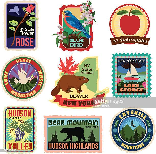 new york state travel stickers - travel tag stock illustrations, clip art, cartoons, & icons
