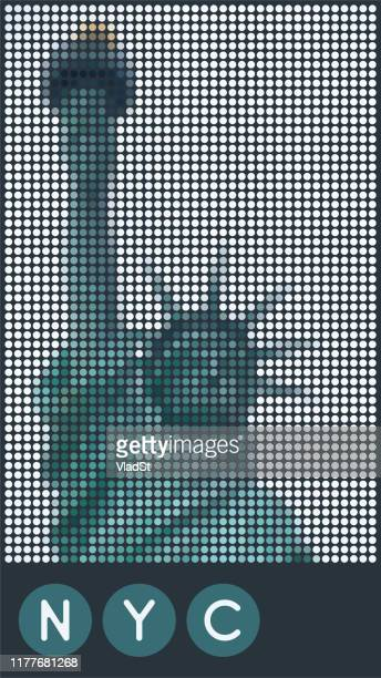 new york statue of liberty dotted design illustration - liberty island stock illustrations, clip art, cartoons, & icons