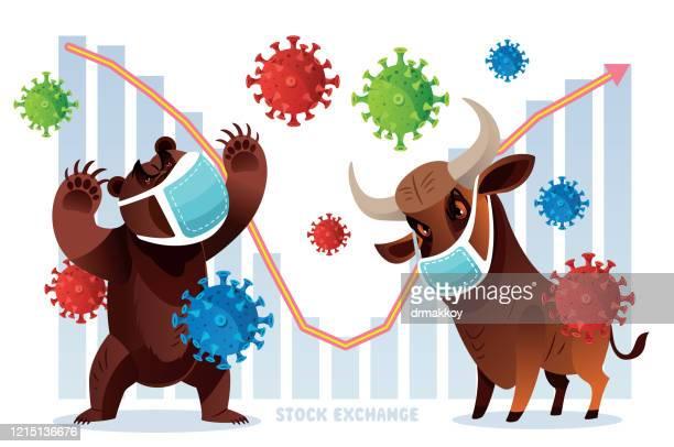 new york stock exchange, bull and bear - bull animal stock illustrations
