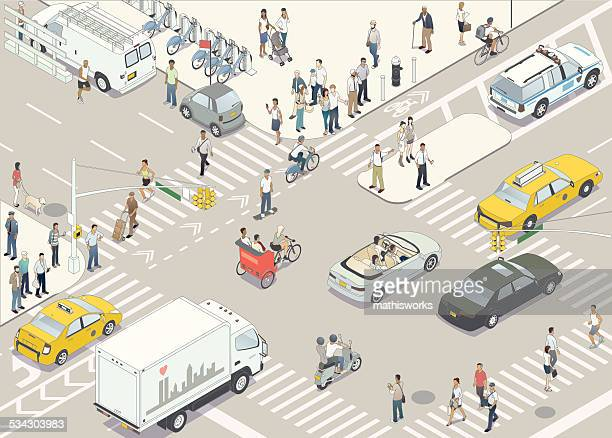 new york street illustration - pedestrian stock illustrations, clip art, cartoons, & icons
