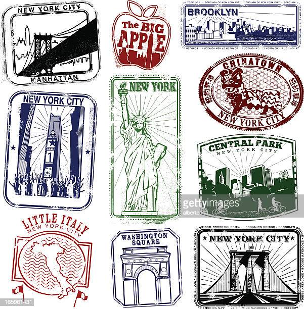 new york super retro stamps - brooklyn bridge stock illustrations, clip art, cartoons, & icons
