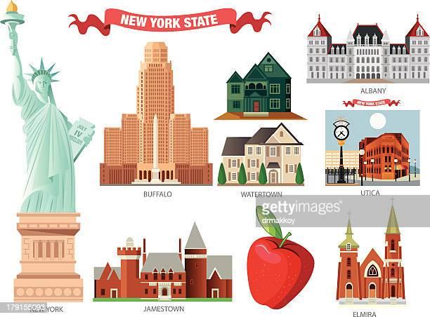 new york symbols - buffalo new york state stock illustrations