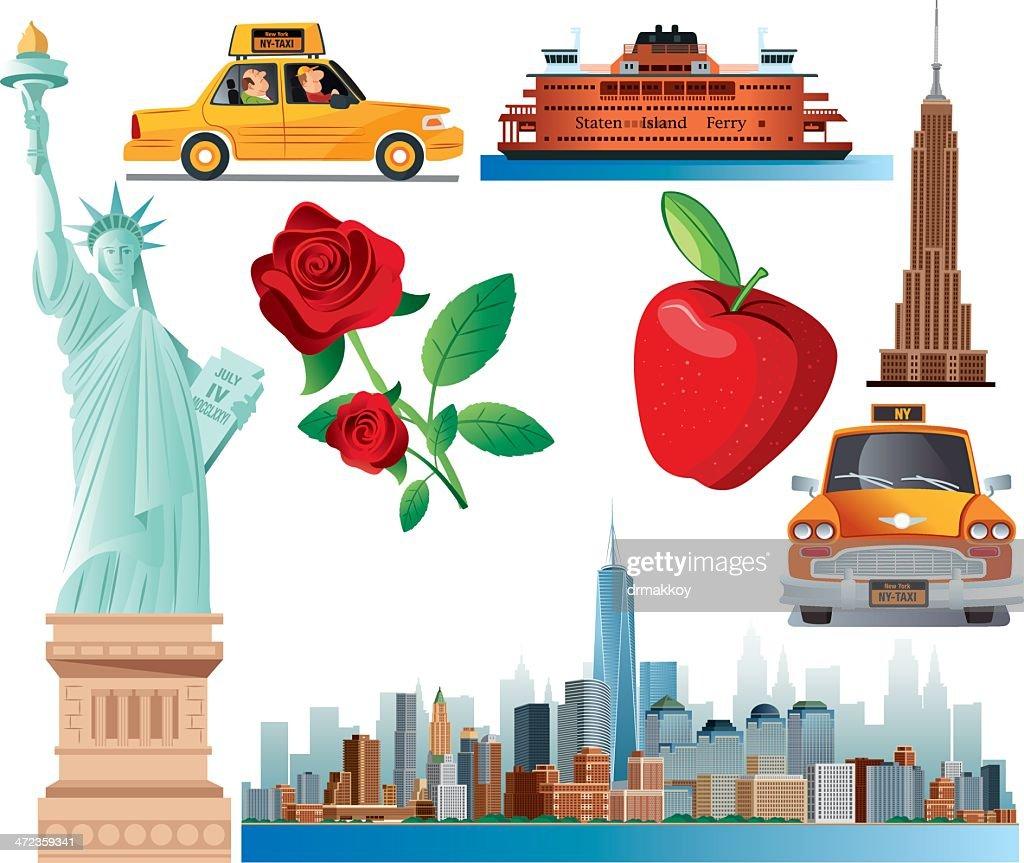 New York Symbols Vector Art Getty Images