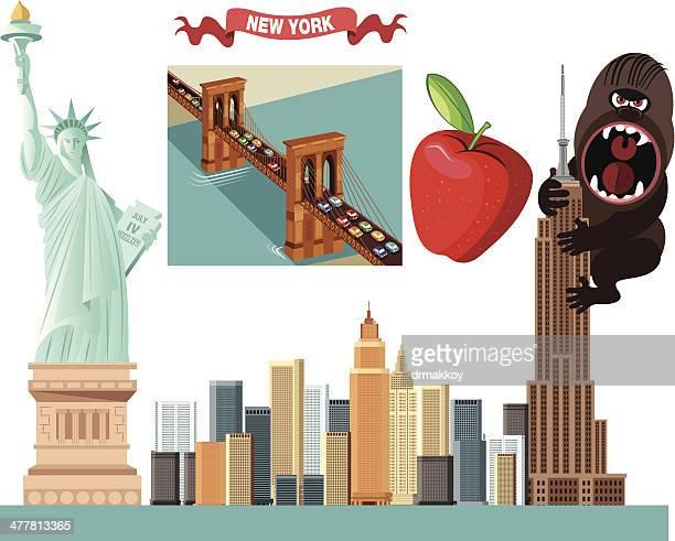 ilustraciones, imágenes clip art, dibujos animados e iconos de stock de símbolos de nueva york - estatuadelalibertad