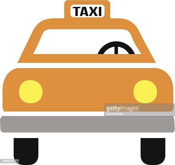 new york taxi cab icon front view - yellow taxi stock illustrations, clip art, cartoons, & icons