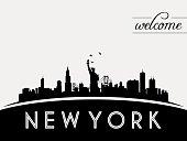 New York USA skyline silhouette, black and white design