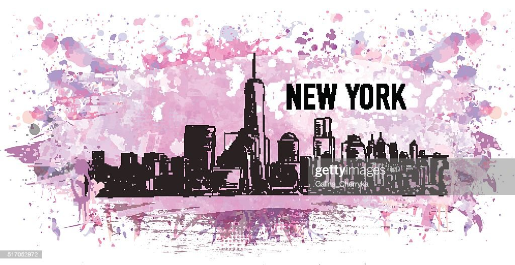 New York, vector drawing in colorful grunge and watercolor shape