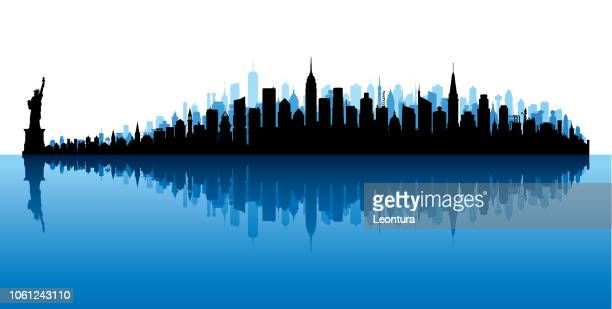 new york (all buildings are moveable and complete) - panoramic stock illustrations
