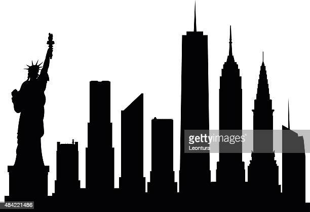 new york (complete, moveable buildings) - empire state building stock illustrations, clip art, cartoons, & icons