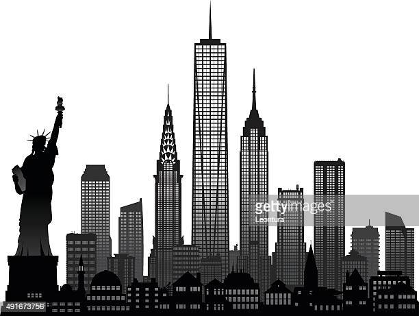 new york (each building is detailed, moveable and complete) - empire state building stock illustrations, clip art, cartoons, & icons