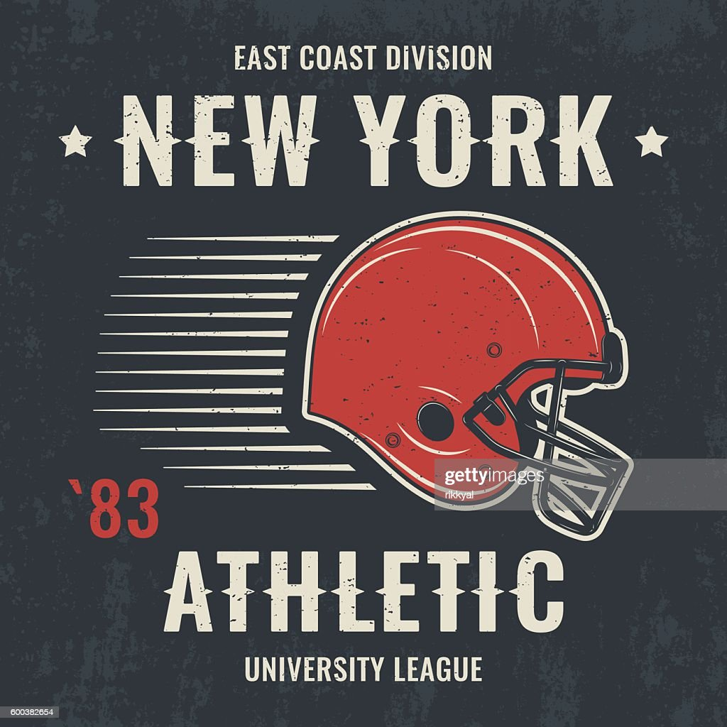 New york vintage t-shirt graphics with football helmet.