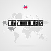 New Yorkl scoreboard. USA flag icon. Vector World Map infographic symbol. International global sign. American dotted template for business, web design, presentation, media